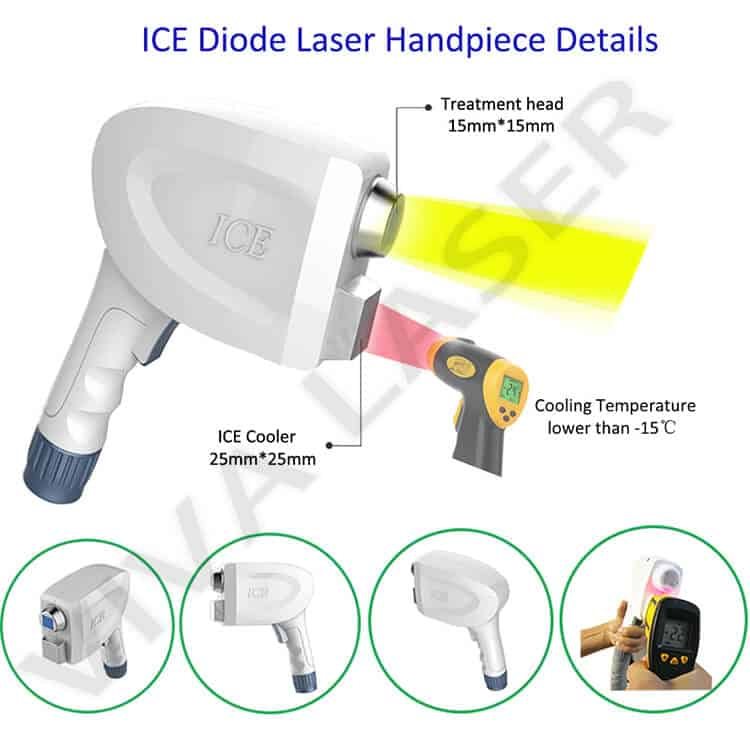 808nm diode laser machine ICE SHR handpiece